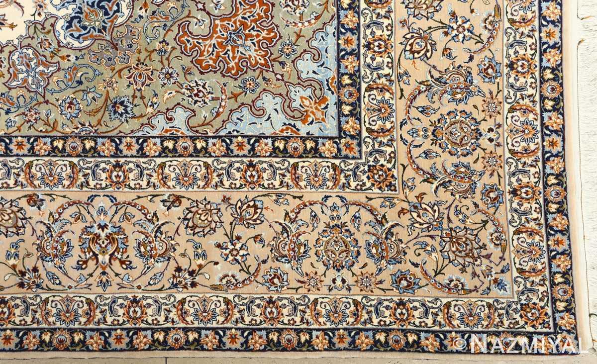 fine ivory vintage isfahan persian rug 51089 corner Nazmiyal