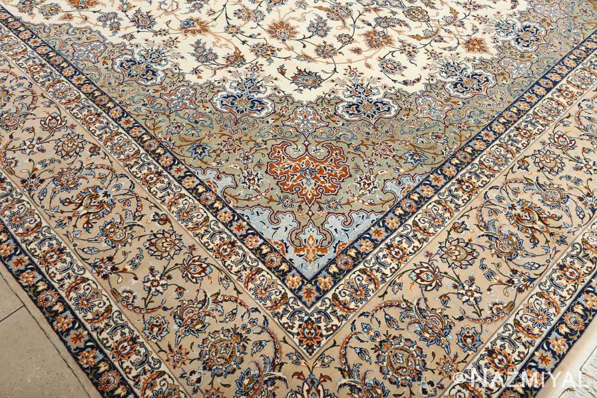 fine ivory vintage isfahan persian rug 51089 design Nazmiyal