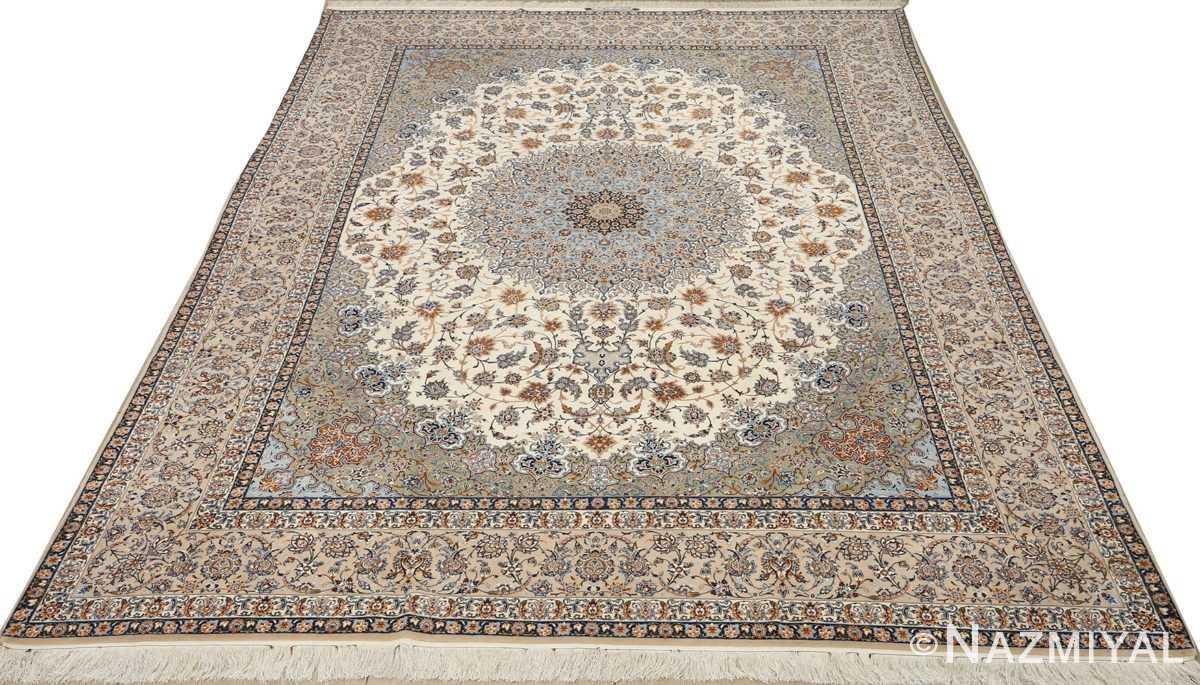fine ivory vintage isfahan persian rug 51089 full Nazmiyal