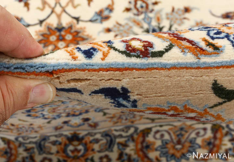 fine ivory vintage isfahan persian rug 51089 pile Nazmiyal