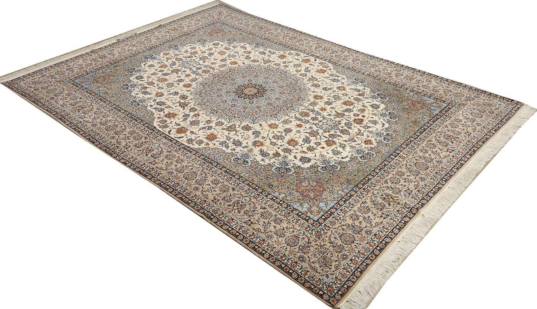 fine ivory vintage isfahan persian rug 51089 side Nazmiyal