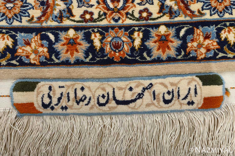 fine ivory vintage isfahan persian rug 51089 signature Nazmiyal