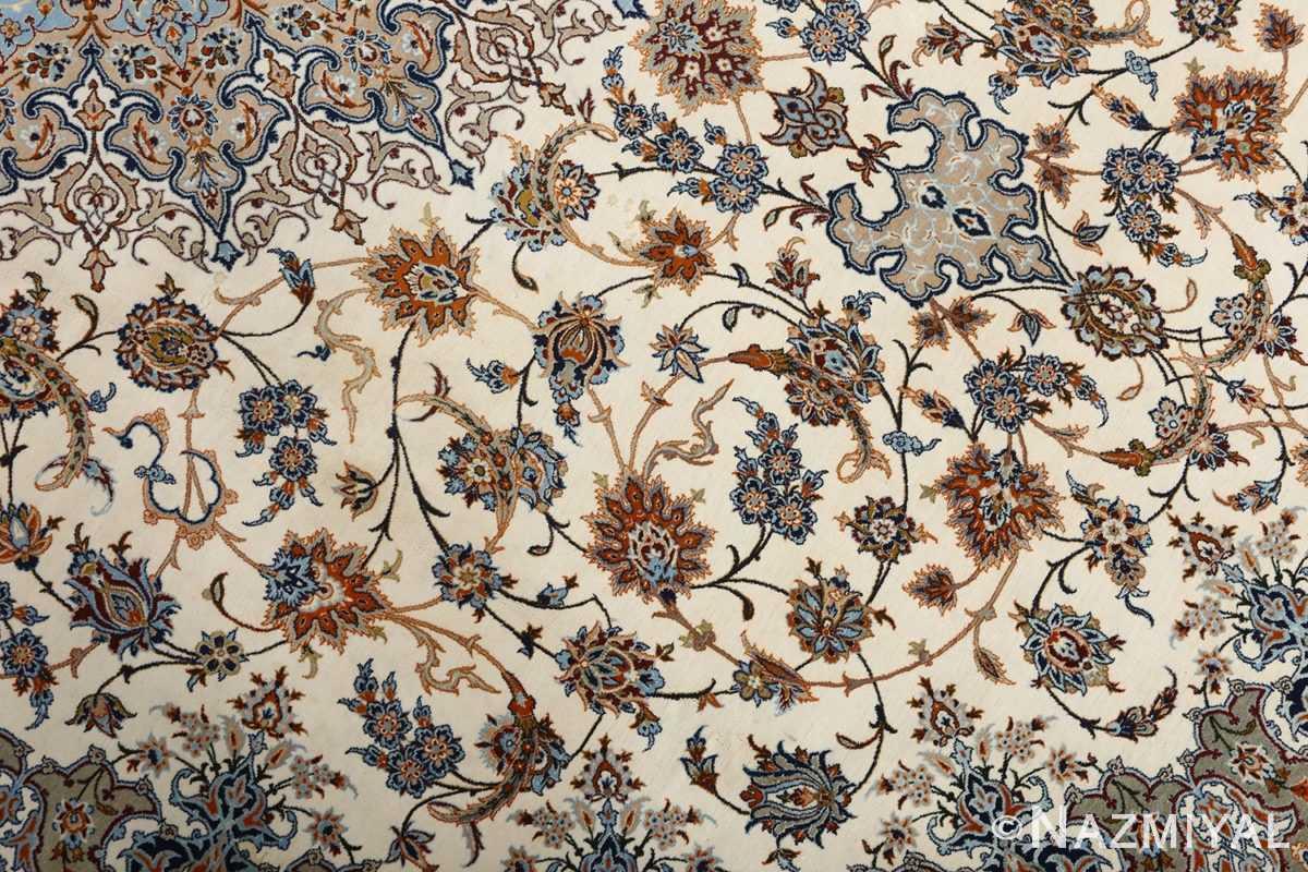 fine ivory vintage isfahan persian rug 51089 slimi Nazmiyal