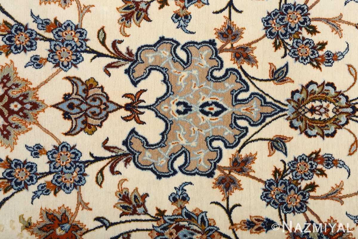 fine ivory vintage isfahan persian rug 51089 top Nazmiyal