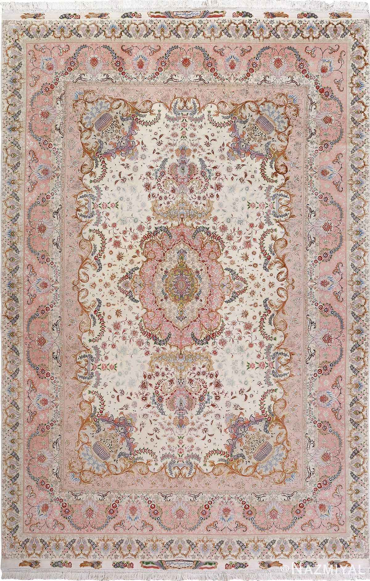fine ivory vintage tabriz persian rug 51110 Nazmiyal