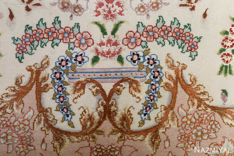 fine ivory vintage tabriz persian rug 51110 bouquet Nazmiyal