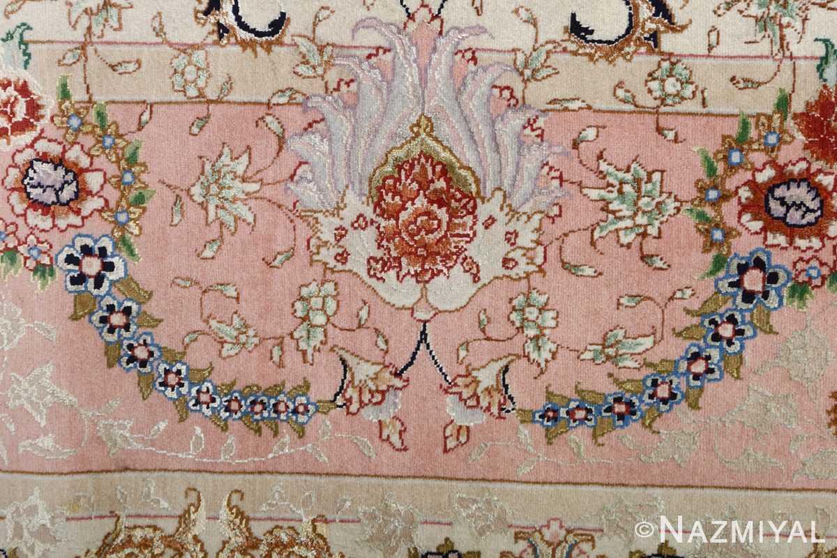 fine ivory vintage tabriz persian rug 51110 buteh Nazmiyal