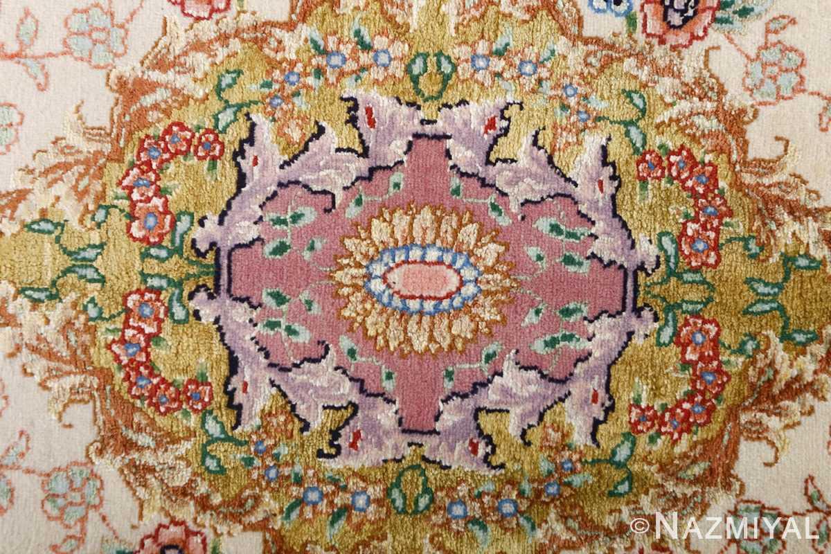 fine ivory vintage tabriz persian rug 51110 center Nazmiyal