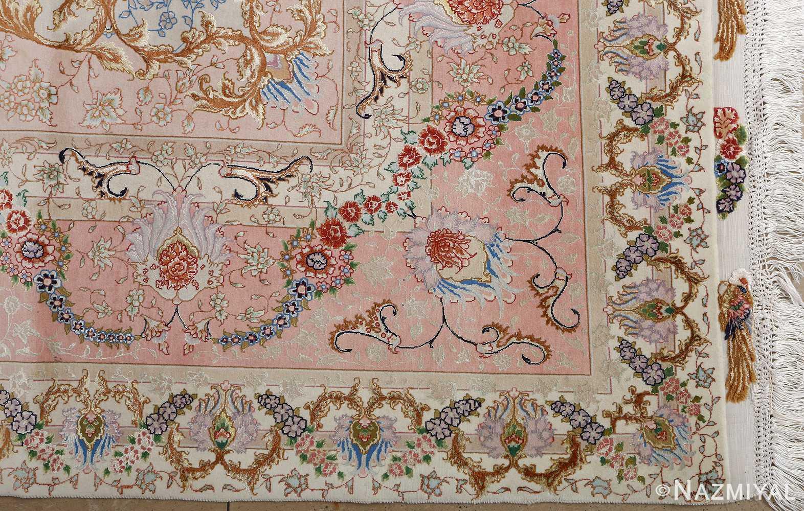 fine ivory vintage tabriz persian rug 51110 corner Nazmiyal