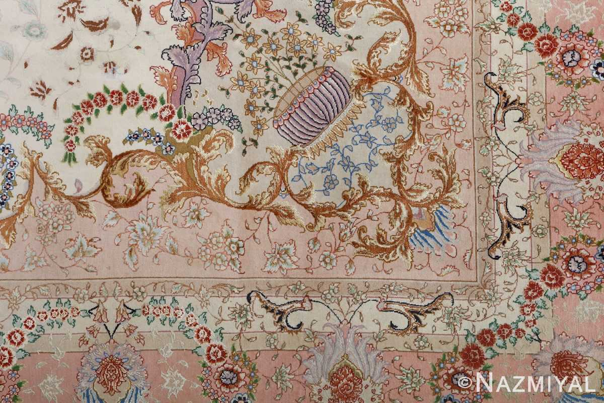 fine ivory vintage tabriz persian rug 51110 design Nazmiyal