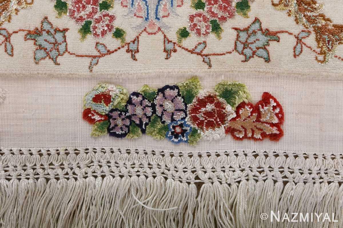 fine ivory vintage tabriz persian rug 51110 fringes Nazmiyal