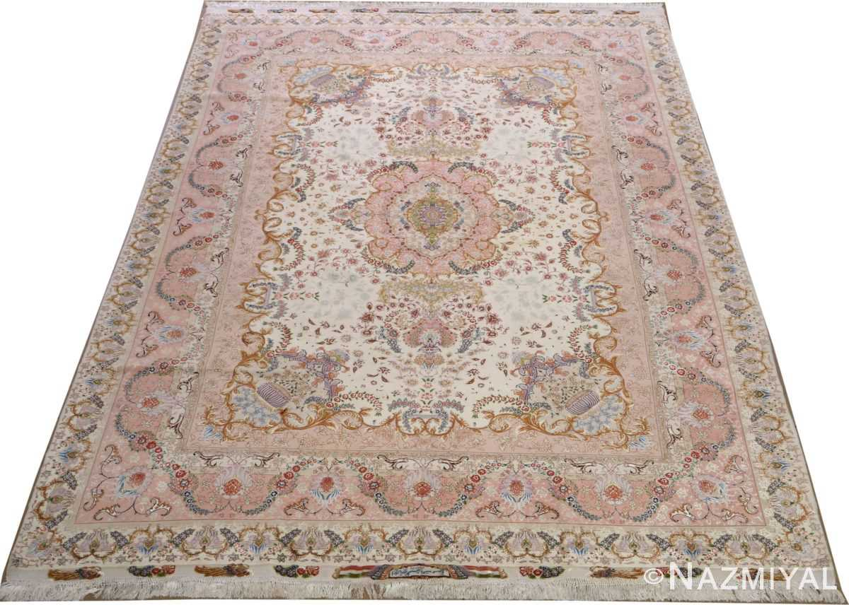 fine ivory vintage tabriz persian rug 51110 full Nazmiyal