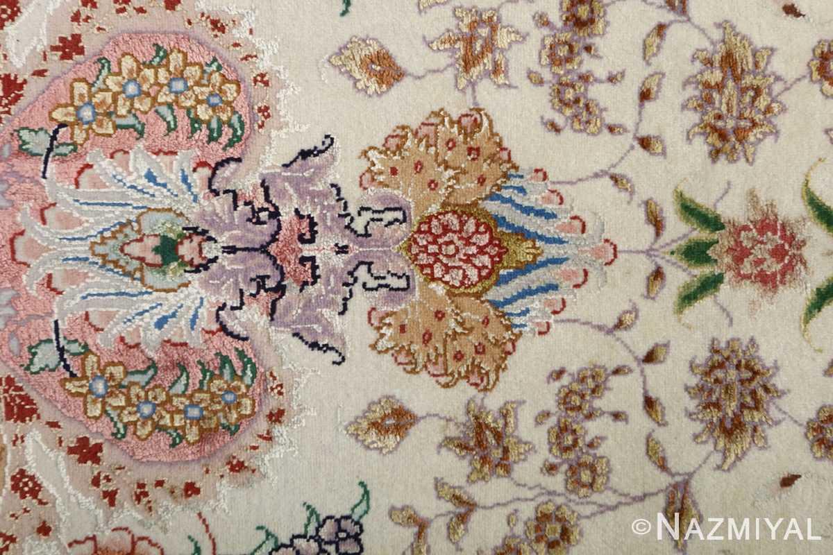 fine ivory vintage tabriz persian rug 51110 pattern Nazmiyal