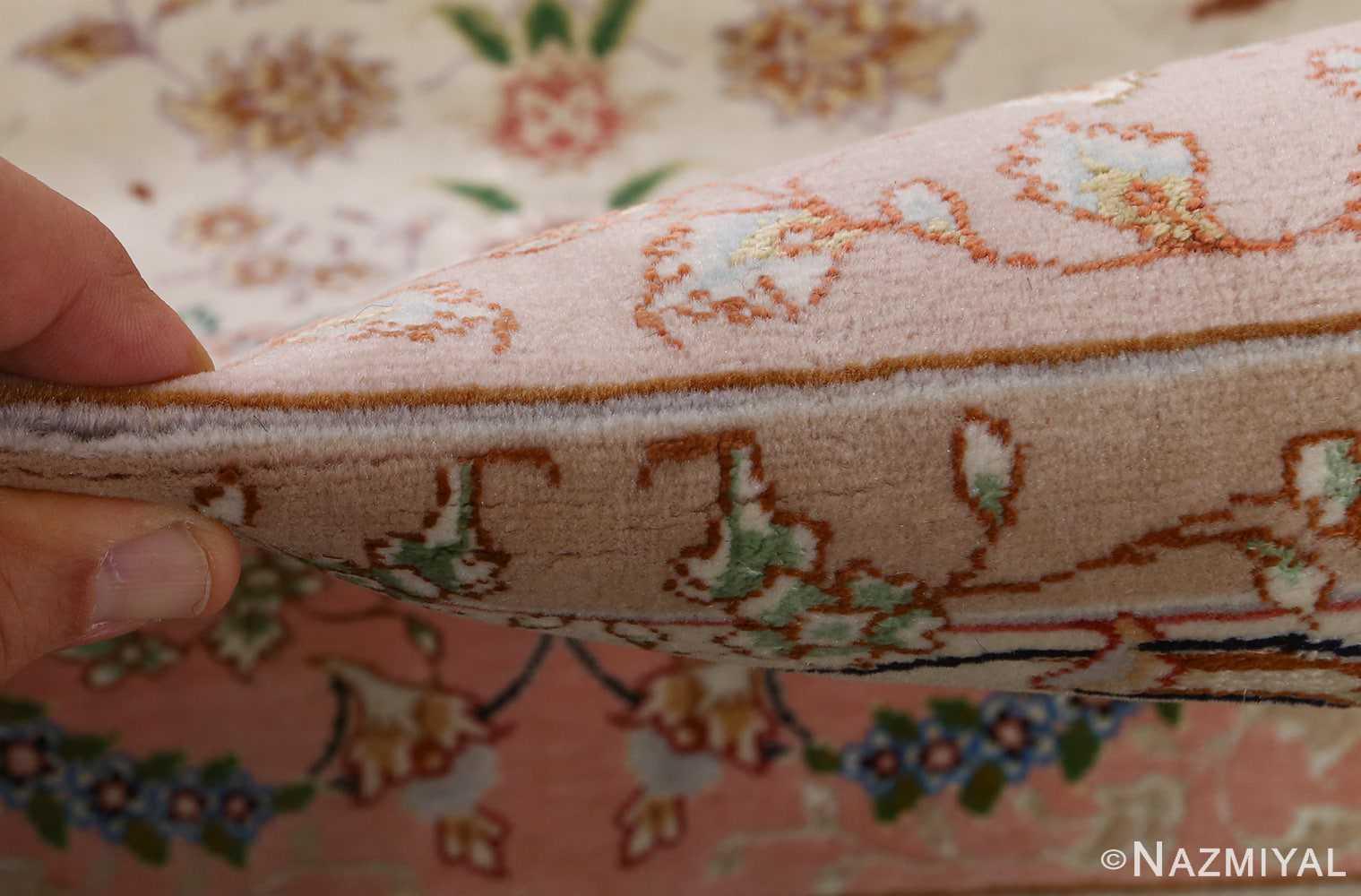 fine ivory vintage tabriz persian rug 51110 pile Nazmiyal
