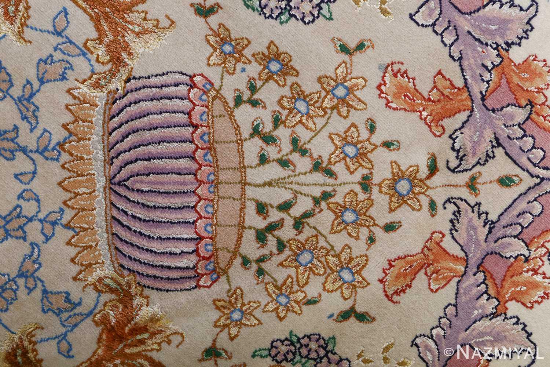 fine ivory vintage tabriz persian rug 51110 pot Nazmiyal