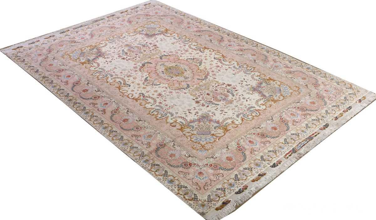 fine ivory vintage tabriz persian rug 51110 side Nazmiyal