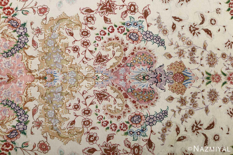 fine ivory vintage tabriz persian rug 51110 silk Nazmiyal