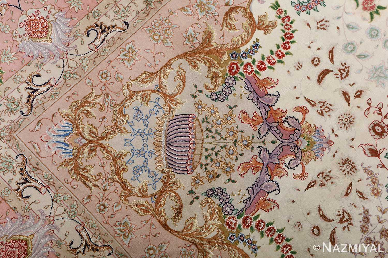 fine ivory vintage tabriz persian rug 51110 vase Nazmiyal