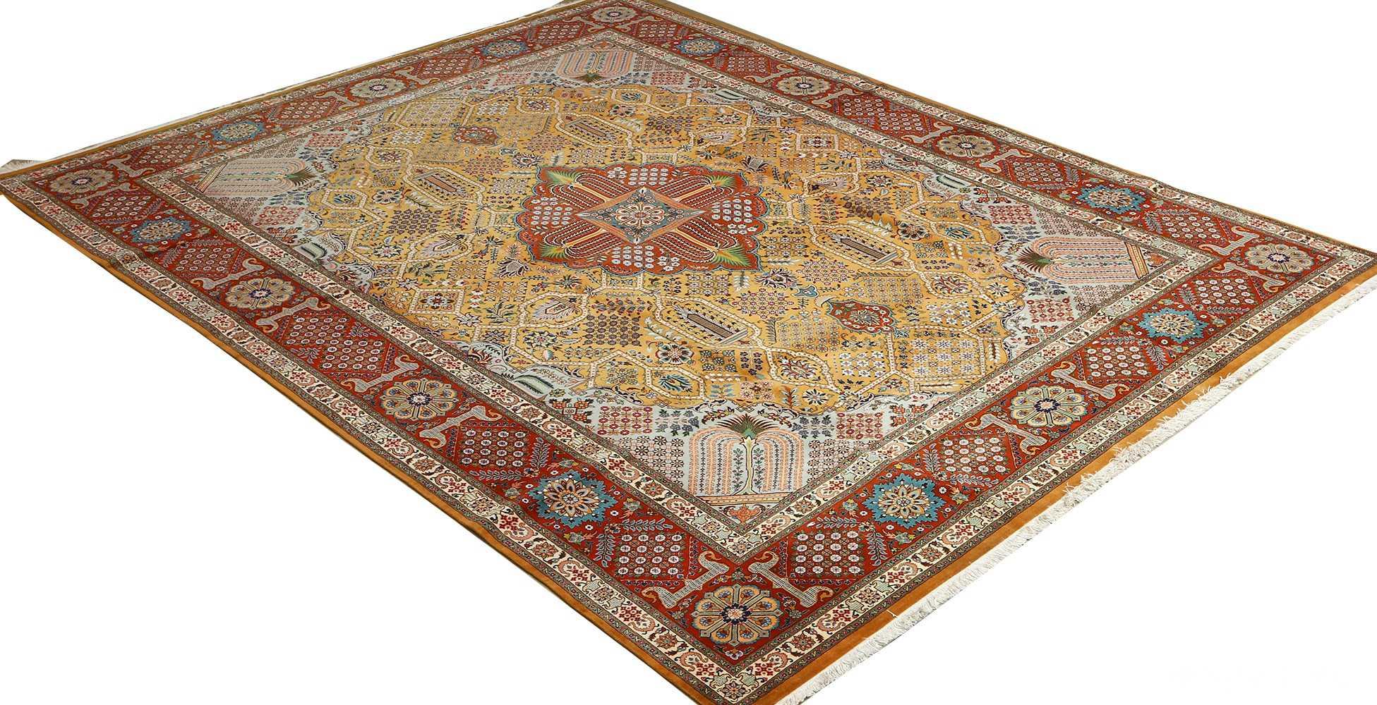 fine joshagan design vintage tabriz persian rug 51069 side white Nazmiyal