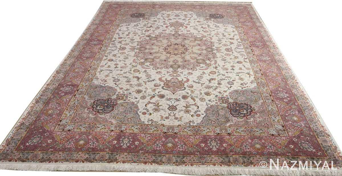 fine large vintage tabriz persian rug 51068 full white Nazmiyal