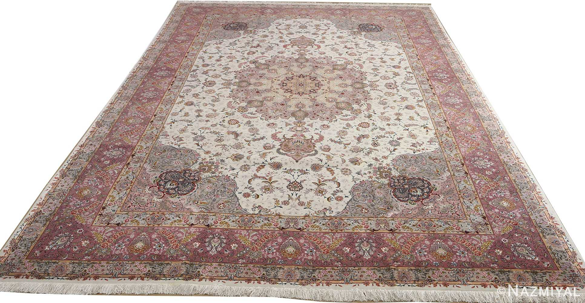 fine large vintage tabriz persian rug 51068 full white Nazmiyal