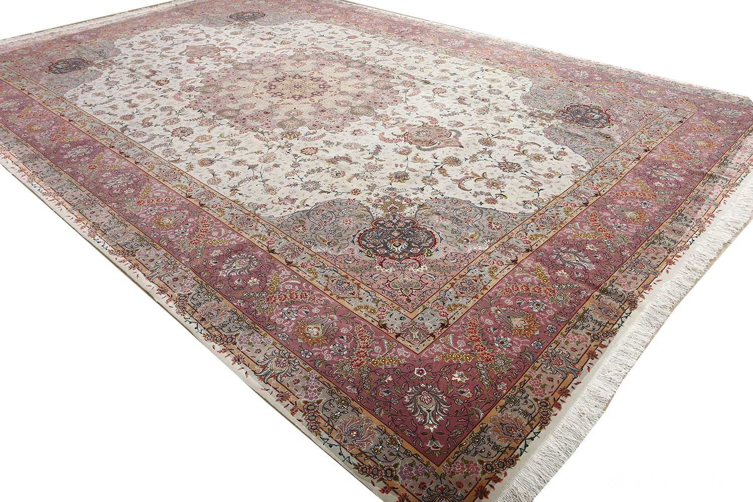 fine large vintage tabriz persian rug 51068 side white Nazmiyal