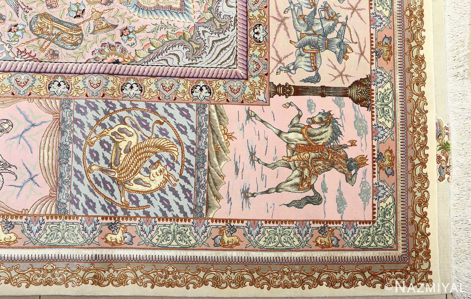 fine pictorial vintage tabriz persian rug 51070 corner Nazmiyal