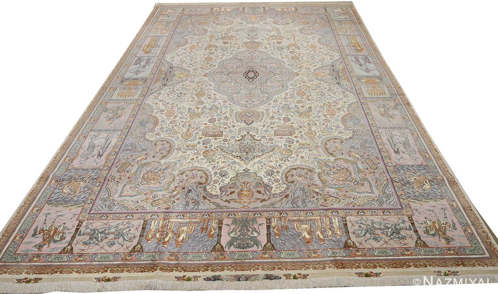fine pictorial vintage tabriz persian rug 51070 full white Nazmiyal