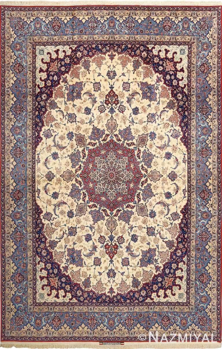 fine seyrafian vintage isfahan persian rug 51079 Nazmiyal