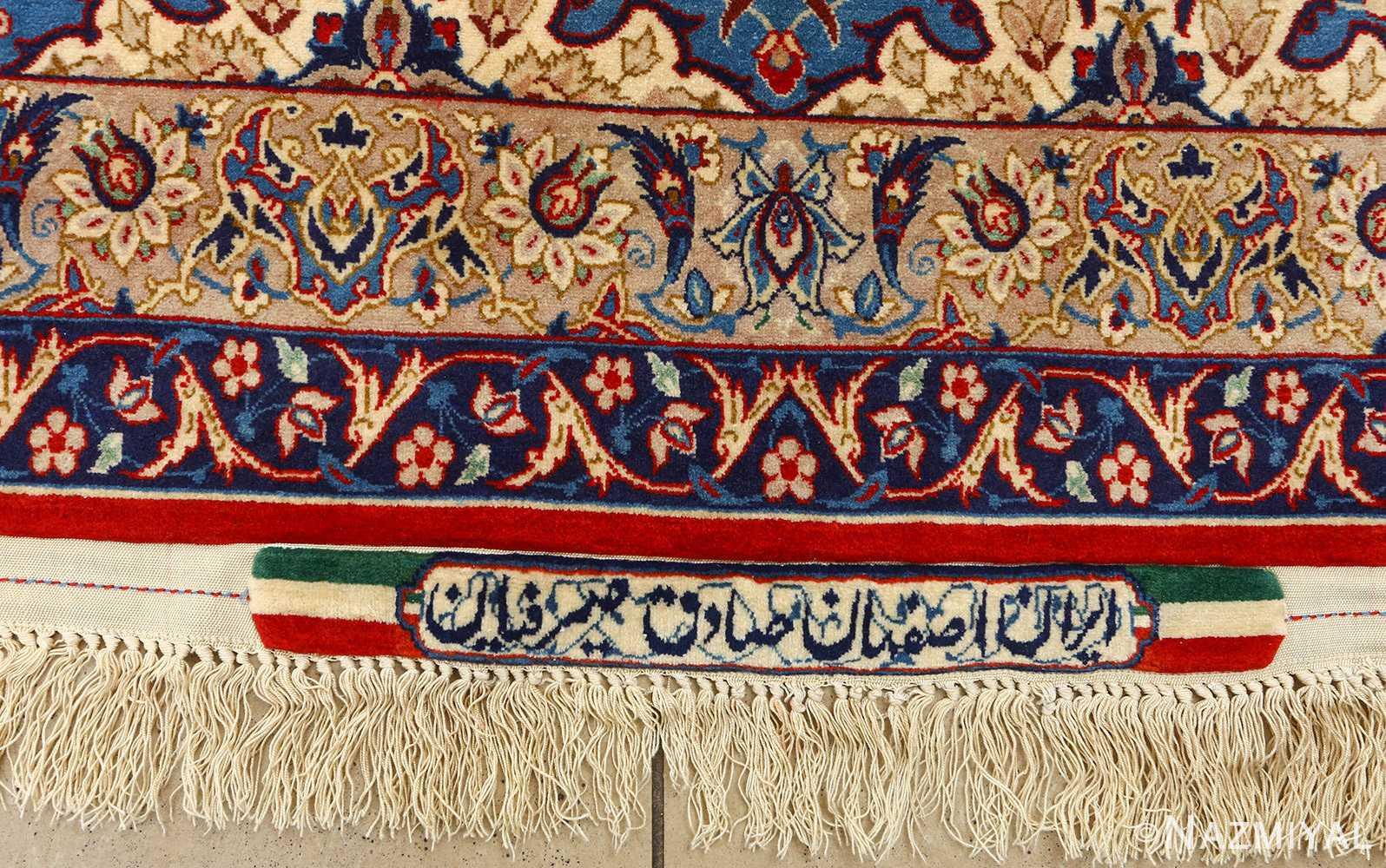 fine seyrafian vintage isfahan persian rug 51079 signature Nazmiyal