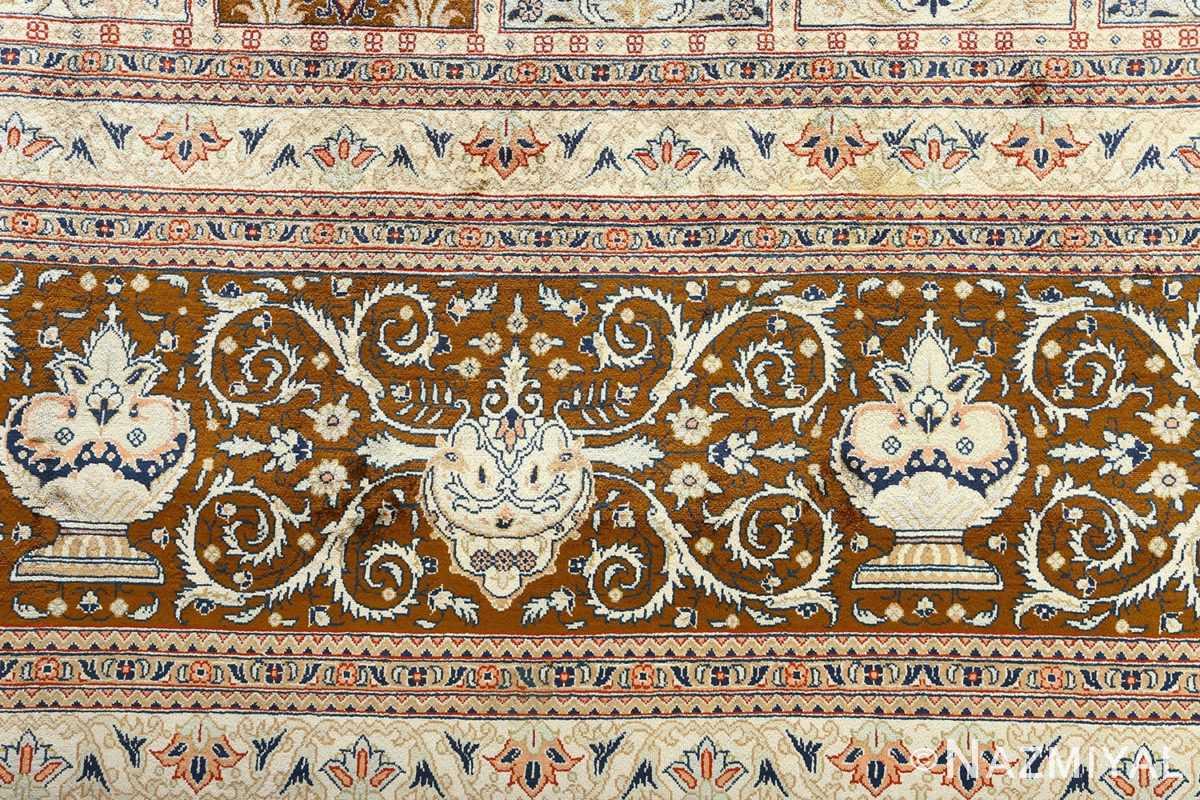 fine square garden design silk qum persian rug 51084 border Nazmiyal