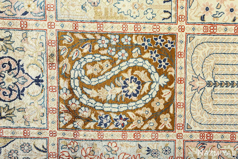 fine square garden design silk qum persian rug 51084 buteh Nazmiyal