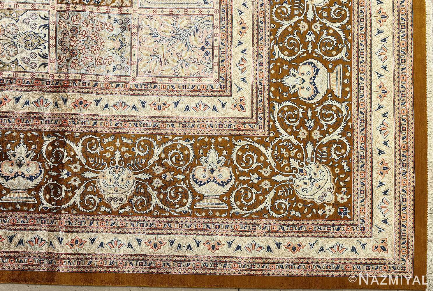 fine square garden design silk qum persian rug 51084 corner Nazmiyal