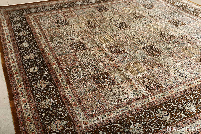 fine square garden design silk qum persian rug 51084 field Nazmiyal