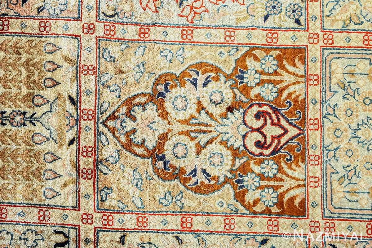 fine square garden design silk qum persian rug 51084 flowers Nazmiyal