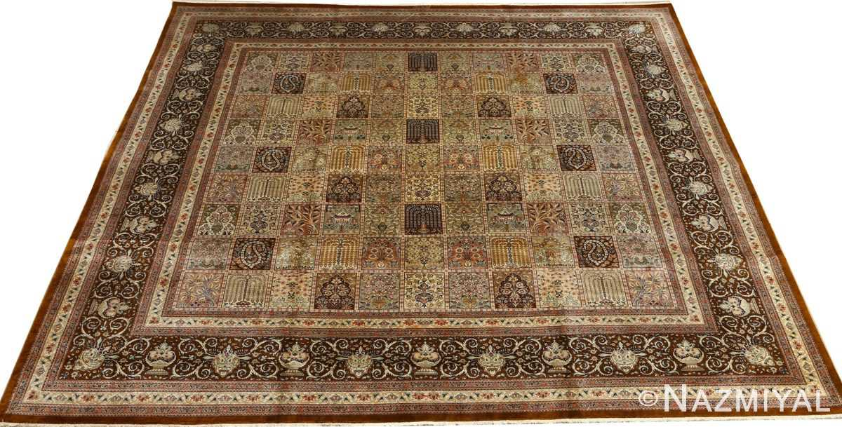 fine square garden design silk qum persian rug 51084 full Nazmiyal