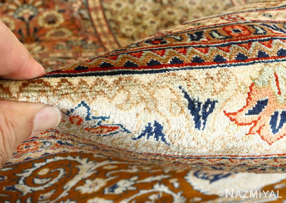 fine square garden design silk qum persian rug 51084 pile Nazmiyal