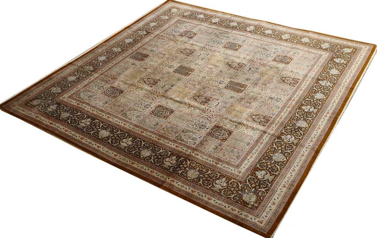 fine square garden design silk qum persian rug 51084 side Nazmiyal