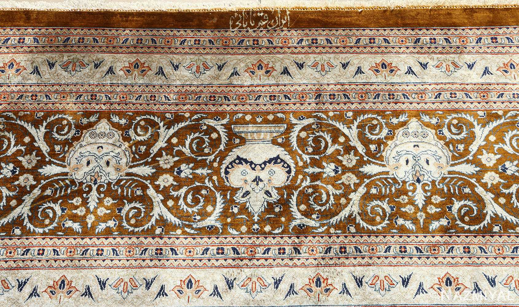 fine square garden design silk qum persian rug 51084 signature Nazmiyal