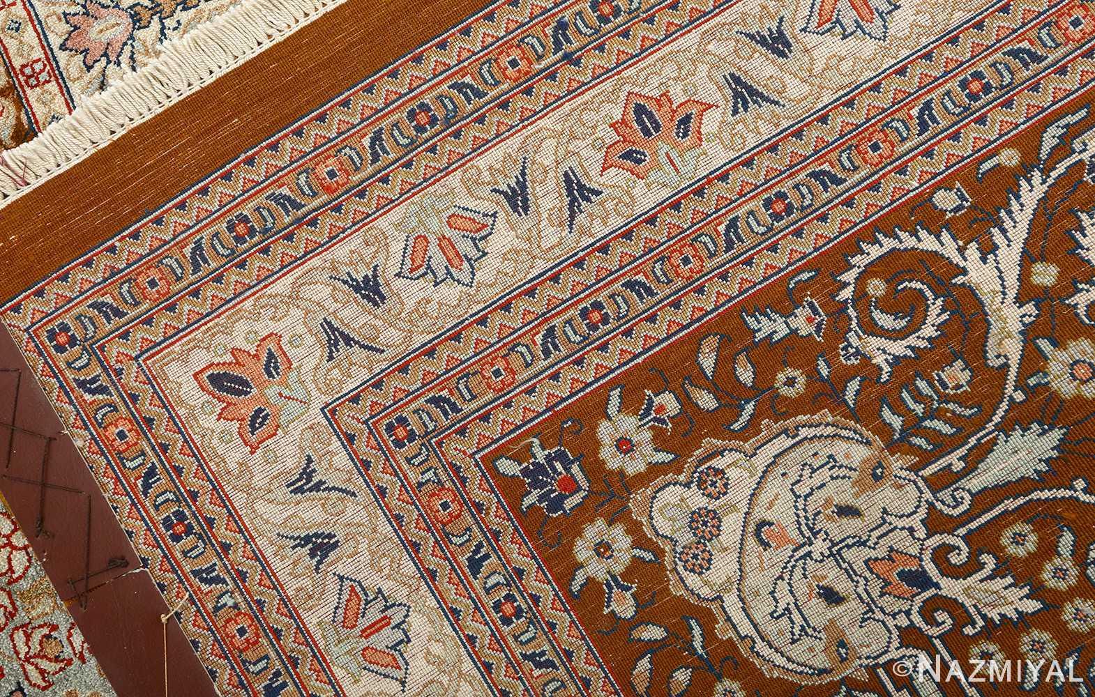 fine square garden design silk qum persian rug 51084 weave Nazmiyal
