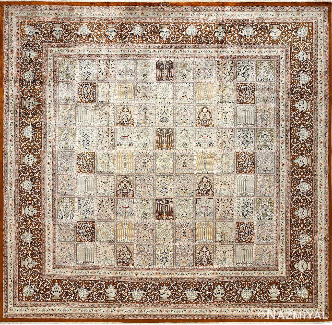 fine square garden design silk qum persian rug 51084 Nazmiyal