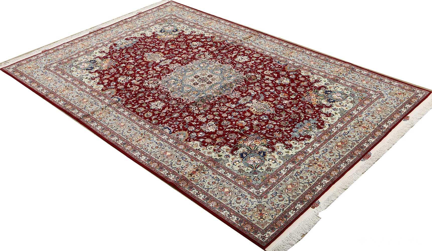 fine vintage floral tabriz persian rug 51106 full Nazmiyal