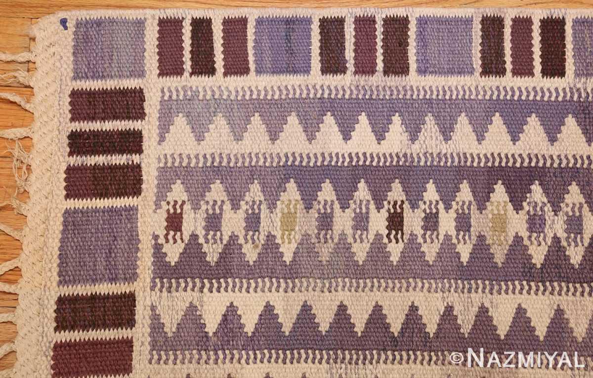 geometric vintage scandinavian swedish kilim by marta maas 49268 corner Nazmiyal