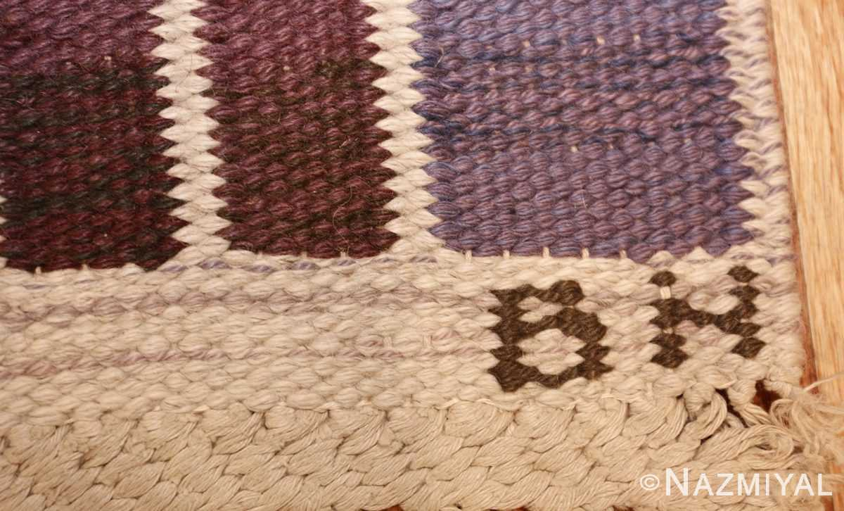 geometric vintage scandinavian swedish kilim by marta maas 49268 initials Nazmiyal