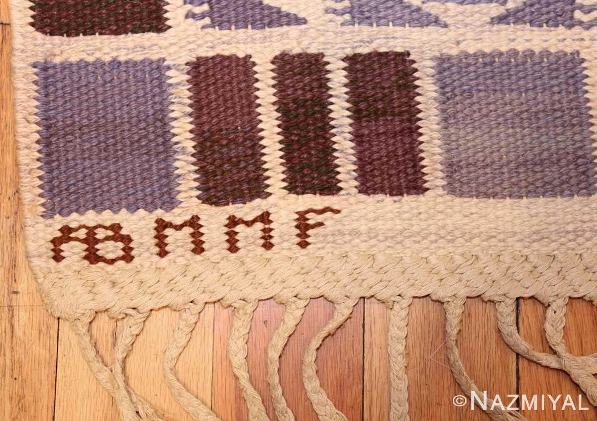 geometric vintage scandinavian swedish kilim by marta maas 49268 signature Nazmiyal