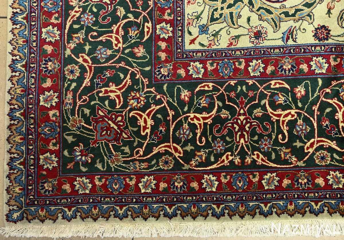 green background vintage tabriz persian rug 51109 corner Nazmiyal