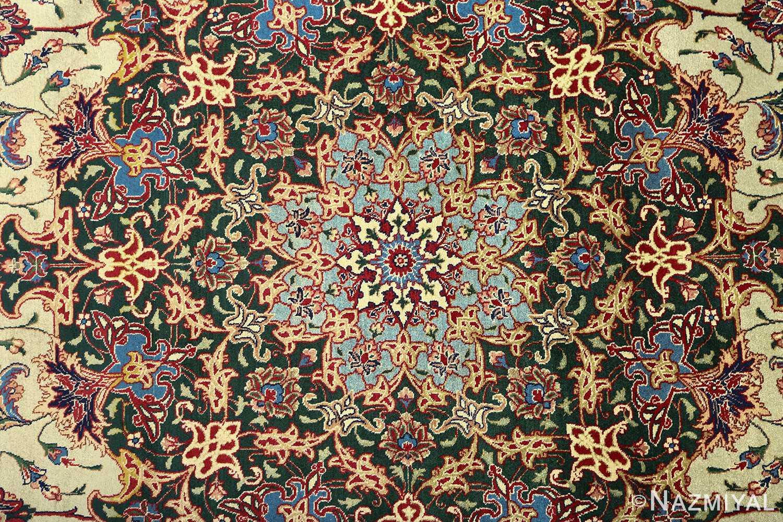 green background vintage tabriz persian rug 51109 medallion Nazmiyal