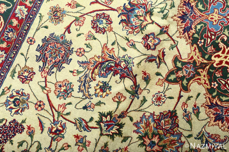 green background vintage tabriz persian rug 51109 scrolls Nazmiyal