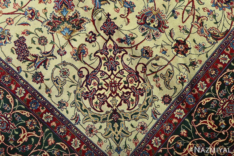 green background vintage tabriz persian rug 51109 vase Nazmiyal