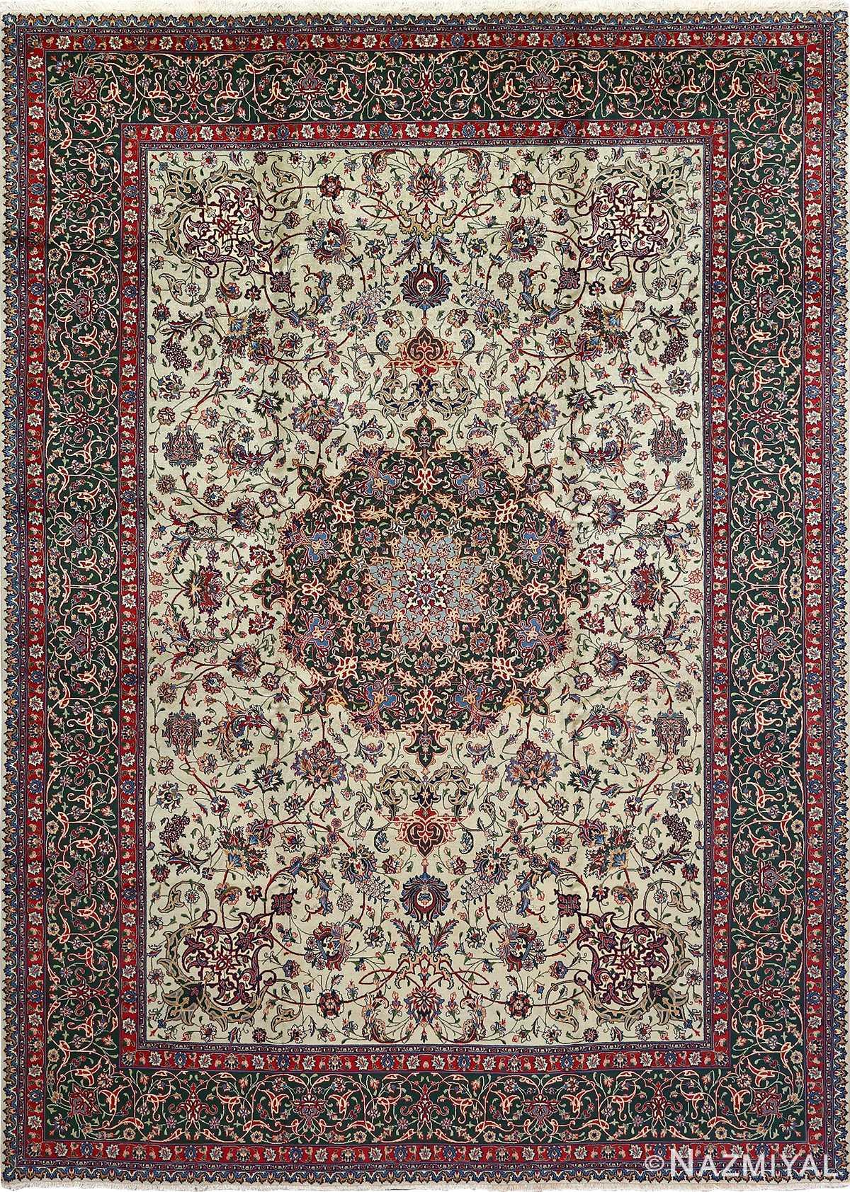 green background vintage tabriz persian rug 51109 Nazmiyal